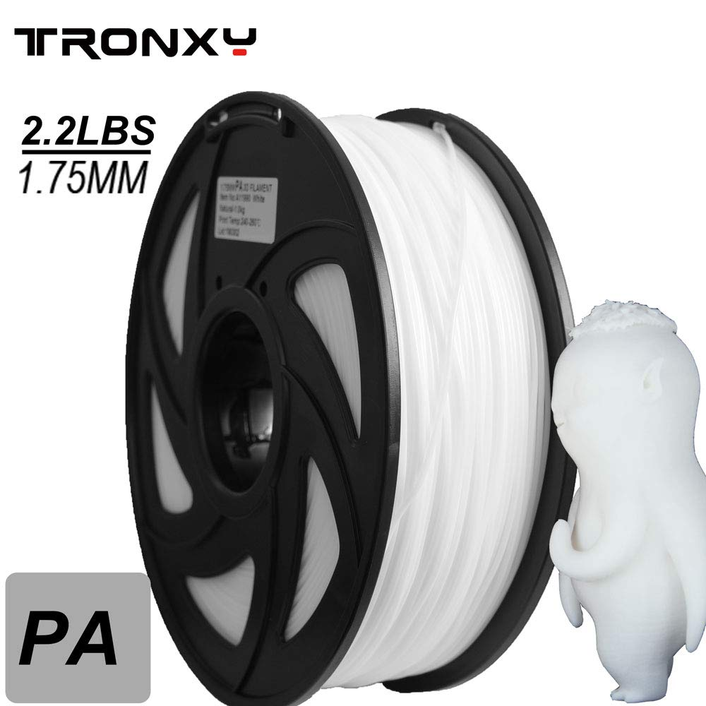 Nylon 3D Printer Filament, Dimensional Accuracy +/- 0.05 mm, 1 kg Spool, 1.75 mm, White