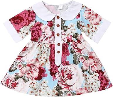 Clothes Dress Sundress Kids Girls Princess Doll collar Summer Pleated Cap Sleeve
