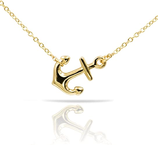 925 Sterling Silver Polished Horizontal Sideway Anchor Pendant Necklace