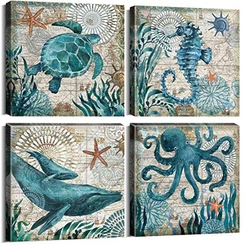 Natural art Ocean Themed Canvas Art for Wall Decor Vintage Style Sea Animals Posters and Prints with Wooden Frame 12x12 Inch 4 Panels
