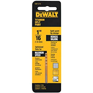 "Dewalt DW1370 1/16"" Titanium Split Point Drill Bit (2-Pack)"