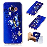 Galaxy S8 Creative Case,Galaxy S8 Soft Clear TPU Cover,Leecase Lovely Blue Butterfly Pattern Flexible Protective Case Cover for Samsung Galaxy S8