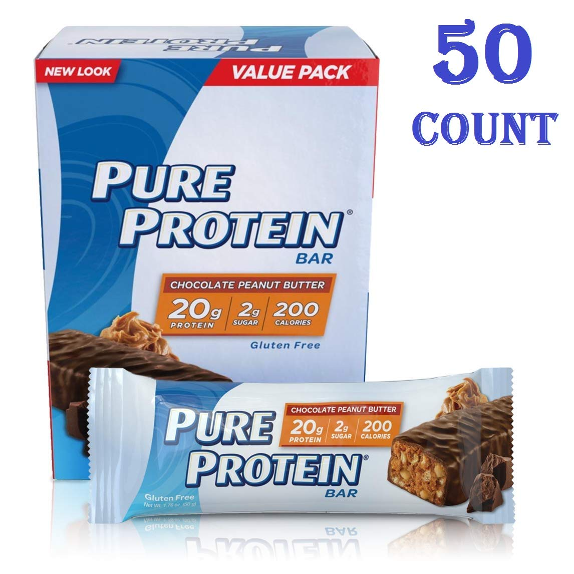 Pure Protein Bars, High Protein, Nutritious Snacks to Support Energy, Low Sugar, Gluten Free, Chocolate Peanut Butter, 1.76oz, 50 Count total (50 Count total)