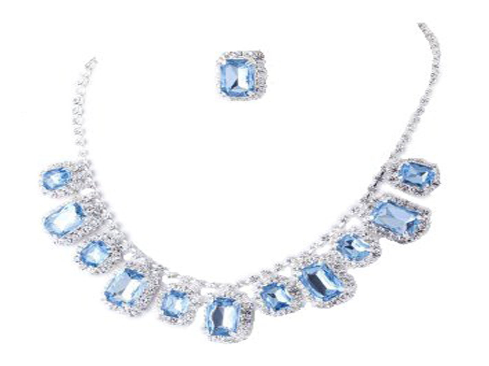 Fashion Jewelry ~Statement Necklace Set ~ Blue Crystals Necklace and Earrings Set ( 47042-100 Sap)