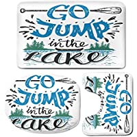 3 Piece Bath Mat Rug Set,Cabin-Decor,Bathroom Non-Slip Floor Mat,Vintage-Typography-Inspiration-Quote-Lake-Sign-Canoe-Fishing-Sports-Theme-Decorative,Pedestal Rug + Lid Toilet Cover + Bath Mat,Blue-Bl