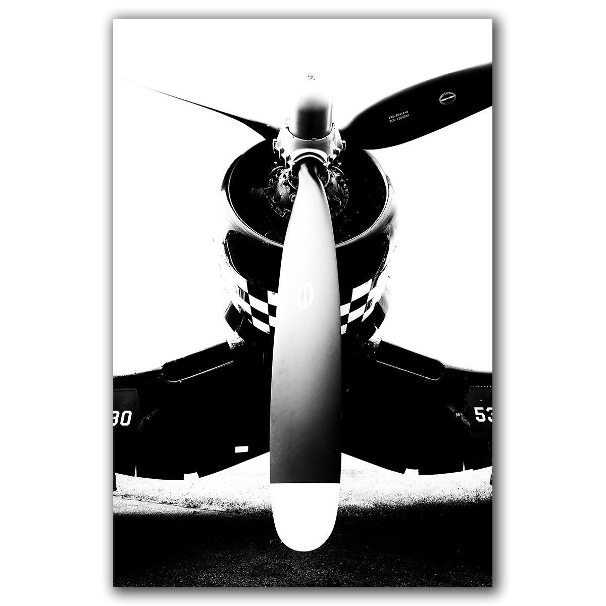 Airplane propeller photograph, Corsair, abstract black and white aviation metal print on aluminum, ready to hang.