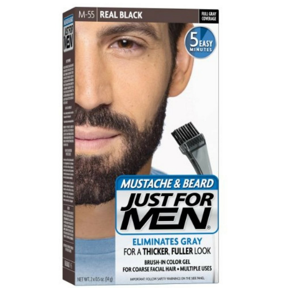 JUST FOR MEN Color Gel Mustache & Beard M-55 Real Black 1 Each (Pack of 9)
