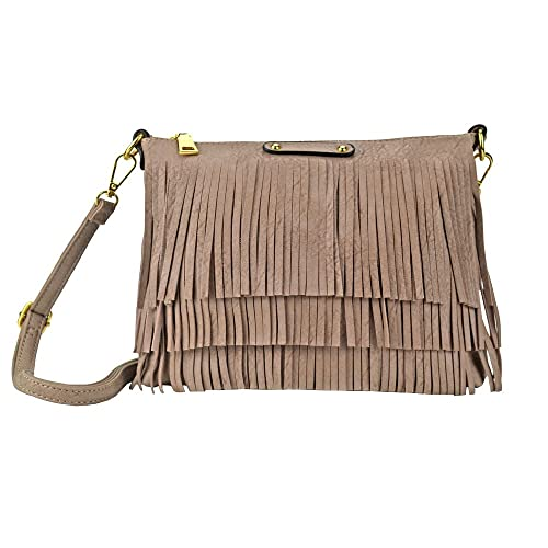 1907ff70e897 Amazon.com  Sibalasi Hippie Fringe Tassel Crossbody Bags Women Chic Hobo Messenger  Bag Lightweight Black Pink Shoulder bag Handbag (Darkpink)  Shoes