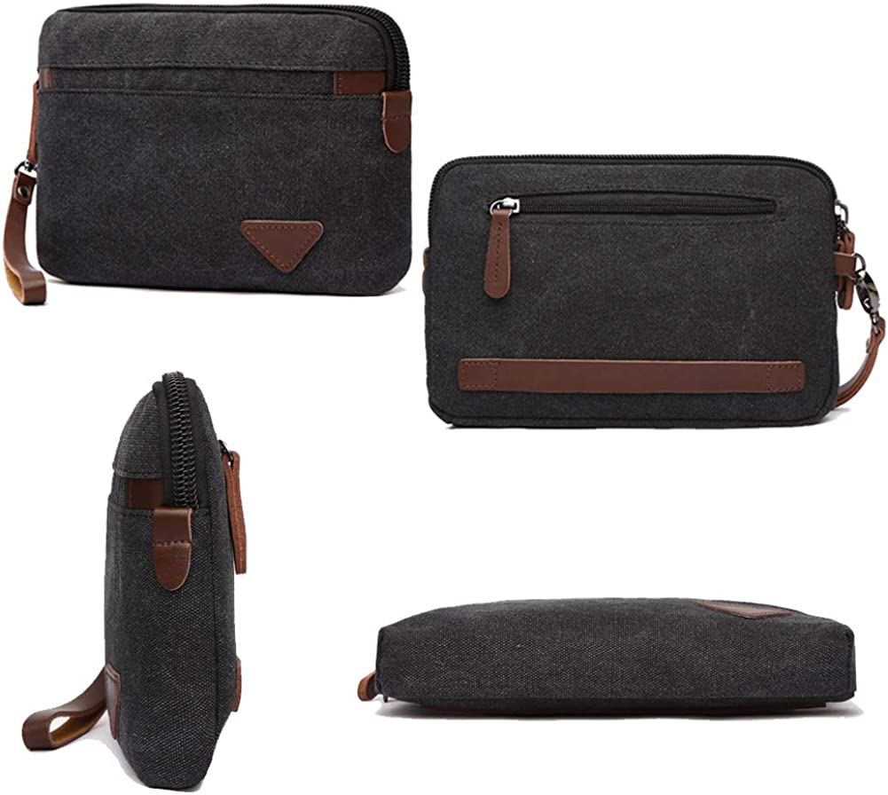 Canvas Wristlet Bag Large Clutch Wallet Purse Zipper Pouch Handbag Organizer with Leather Strap for Men