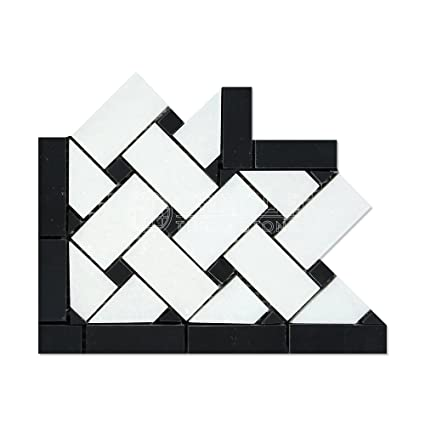 Thassos White Greek Marble Basketweave Border Corner Tile With Black Marble Dots Honed