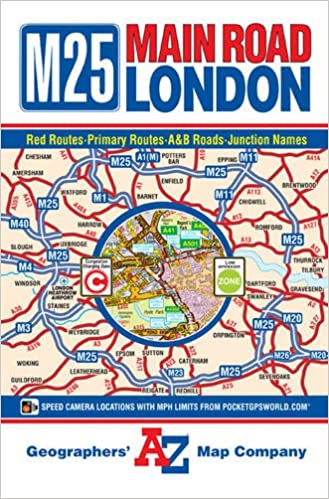 Map To London.M25 Main Road Map Of London A Z Road Map Amazon Co Uk