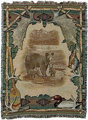Pure Country Weavers - Antler Lodge Cabin Hunting Decor Woven Tapestry Throw Blanket with Fringe Cotton USA Size 72 x 54
