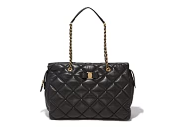 c7eb60888a Salvatore Ferragamo Women s Ginette Large Quilted Nappa Vara Bag (Black)