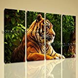 Framed Canvas Print Bengal Tiger Big Cat Animal Wild Jungle Wall Art Picture Extra Large Wall Art, Gallery Wrapped, by Bo Yi Gallery 51''x36''