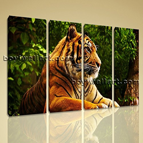 Framed Canvas Print Bengal Tiger Big Cat Animal Wild Jungle Wall Art Picture Extra Large Wall Art, Gallery Wrapped, by Bo Yi Gallery 51