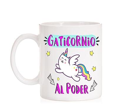 MardeTé Taza Gaticornio al Poder. Taza Divertida de Gatos Que Son Unicornios.: Amazon.es: Hogar