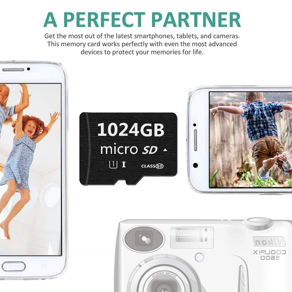 with Free Adapter Micro Mini SD Card 1024GB YSSRUN Small Memory Card for Micro Mini SD//XC//HC Class 10 UHS-I High Speed Memory Card for Phone,Tablet and PCs