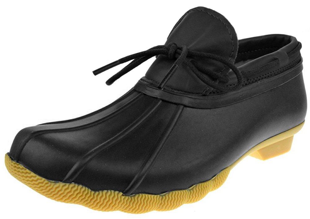 Refresh Footwear Women's Slip-On Bow Duck Boot Rain Shoe B0744NWGNZ 8 B(M) US|Black