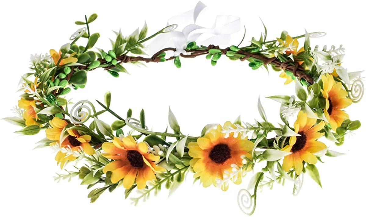 DDazzling Green Leaf Floral Crown Eucalyptus Flower Women Girls Headband Flower Headpiece Bridal Halo Photo Prop (Sunflower Yellow): Beauty