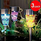 3Pack Mosaic Solar Lights Outdoor 3 Color Mosaic Solar Garden Lights,Solar Pathway Lights Solar Walkway Lights Solar Path Lights Solar landscape lights Review