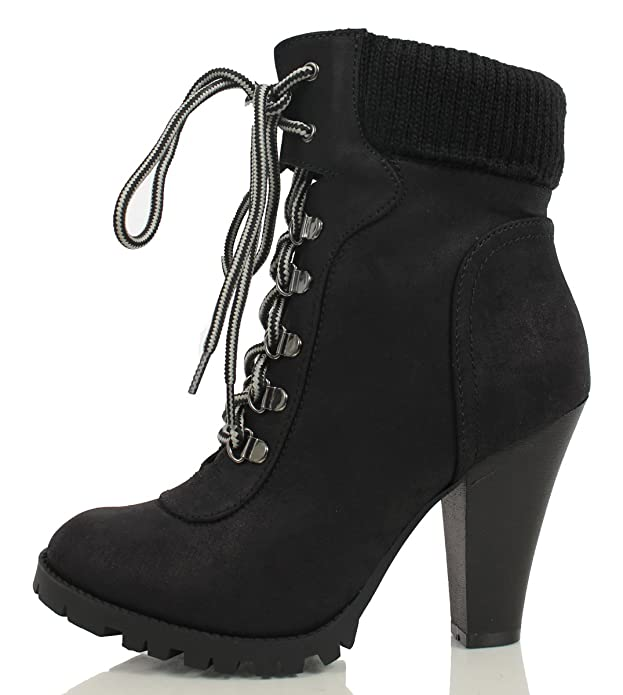 EG_ Women Faux Leather Buckle Low Heel Martin Boots Round Toe Winter Shoes Happy