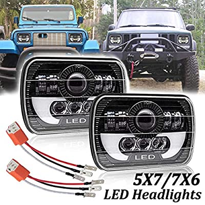 7x6 5x7 Inch LED Headlights Dot Approved H4 Rectangular Projector Headlight 2pcs 90W High Low Sealed Beam DRL Angle Eyes Replace for Jeep Cherokee YJ XJ MJ Toyota GMC H6054 H5054 H6014 H6052 6053 9003: Automotive