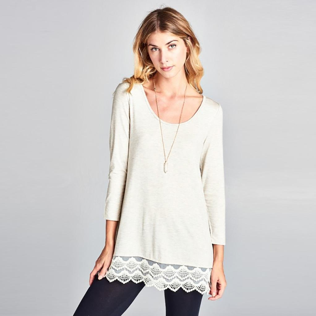 da8c20f097 Hot Sale Women s Long Sleeve Sweatshirt Solid Lace Tunic T-Shirt V Neck  Loose Blouse Casual Tops at Amazon Women s Clothing store