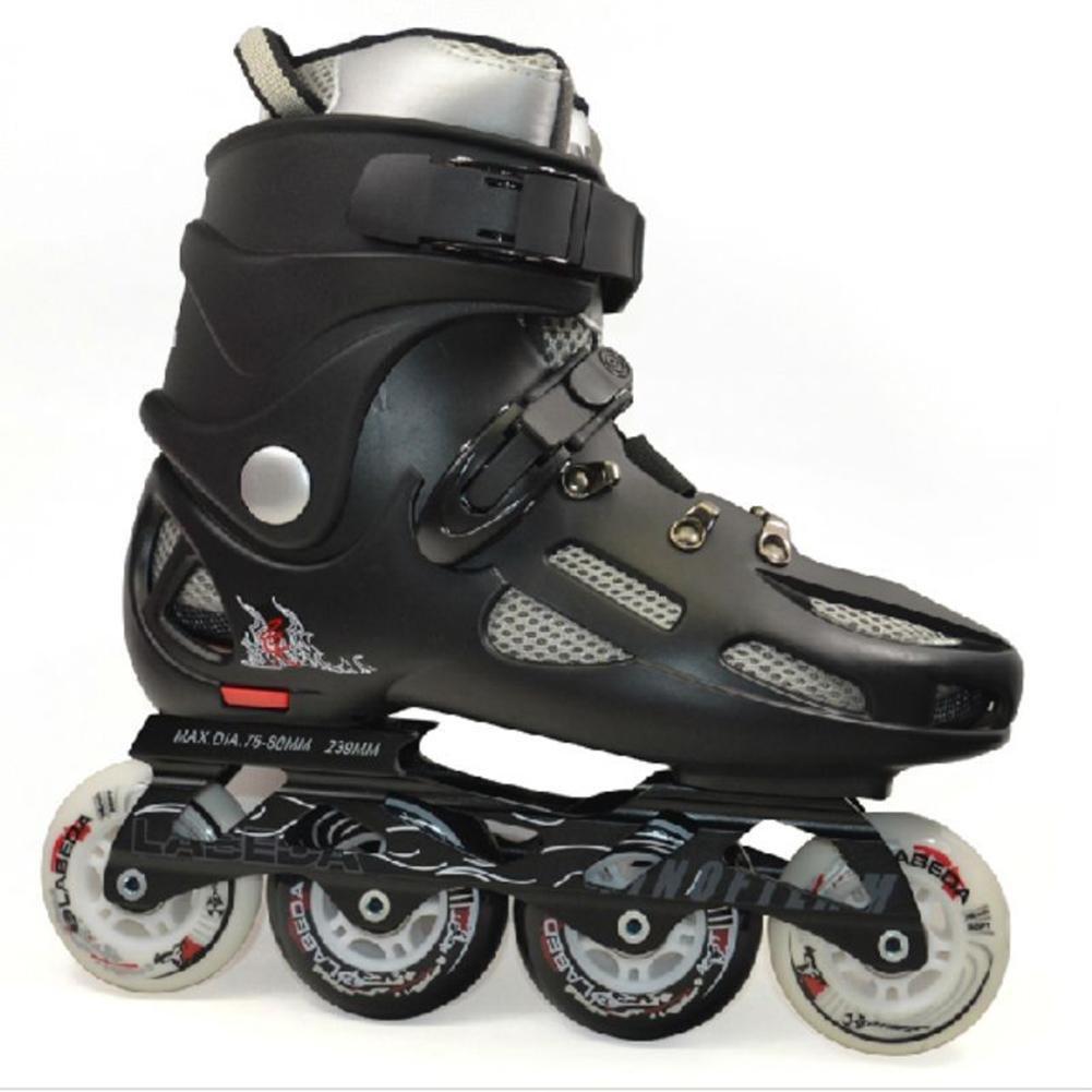 ZZY Einreihig Rollschuhe Erwachsene Rollschuhe Einreihig Schlittschuhe Verstellbare Größe Männlich und Weiblich Glatte Schuhe Schwarz