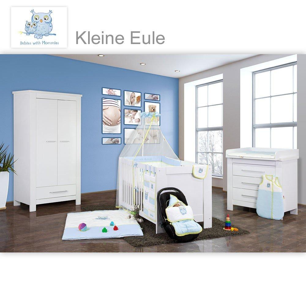 Babyzimmer Enni in weiss 20 tlg. mit 2 türigem Kl. + Textilien Kleine Eule, Blau