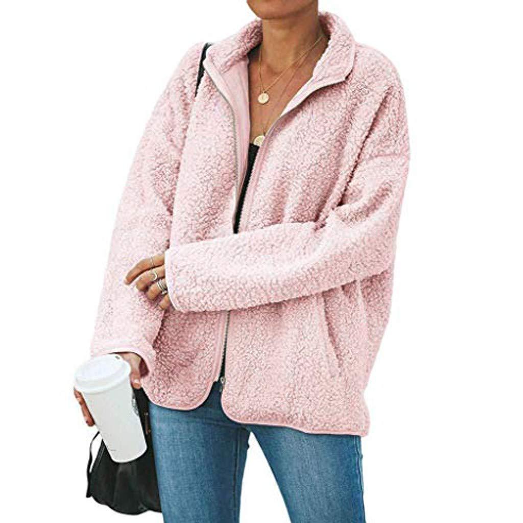 Eduavar Womens Oversized Long Sleeve Open Front Fleece Hooded Cardigan Coats Jacket with Pockets Warm Winter