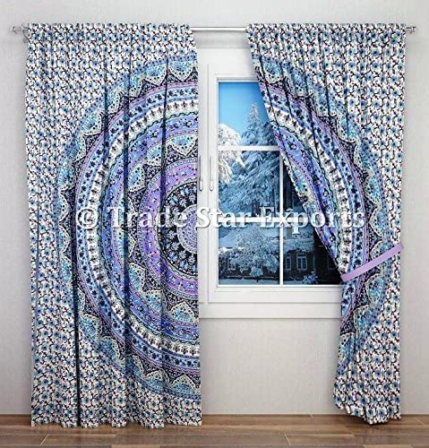 PAIR Indian Horoscope Mandala Bohemian Window Curtain Dorm Tapestry Wall Curtain