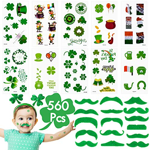 Whaline 560 Pcs St. Patrick's Day Tattoo Stickers Irish Shamrock Clover Temporary Tattoos with 16 Pcs Green Fake Mustache for Party, Parades Supplies