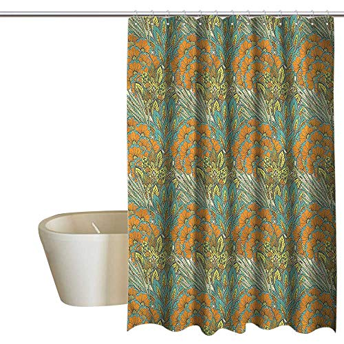 Denruny Shower Curtains for Bathroom Bamboo Floral,Meadow Wheat Peacock,W72 x L96,Shower Curtain for - Curtain Wheat Bamboo
