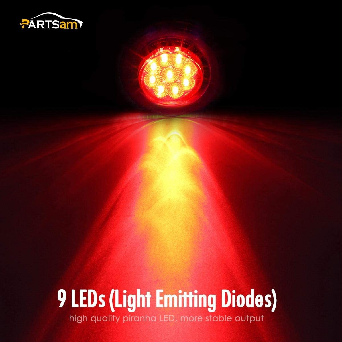Partsam 20Pcs 2 Inch Round Trailer Red Led and Side Marker Lights 9 Diodes Smoked w Reflectors Waterproof 12V Truck RV 2 Round Red Led Marker Lights Panel Kits Grommets Mount and Pigtails