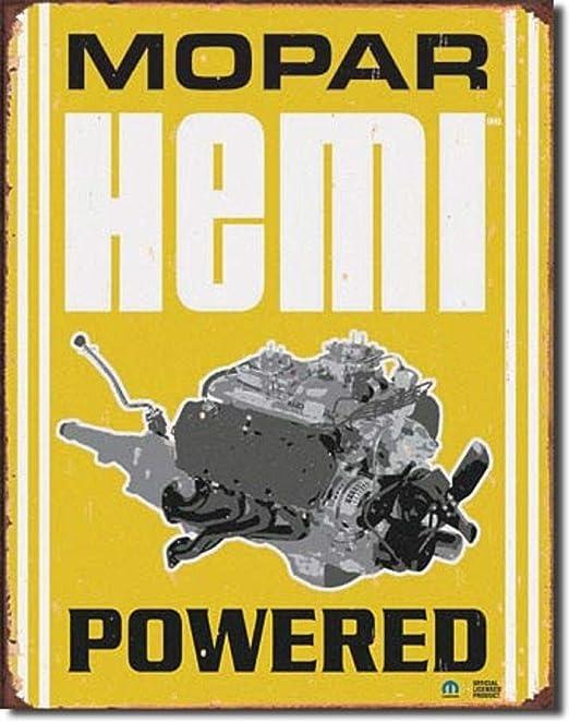 Hemi Powered Mopar TIN SIGN metal poster vintage rustic hotrod garage decor 1420