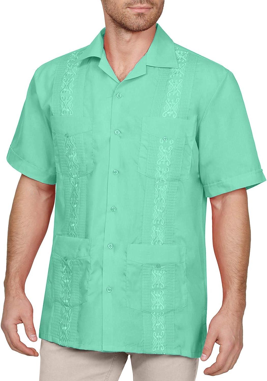 NE PEOPLE Mens Short Sleeve Cuban Guayabera Button Down Shirts Top XS-4XL