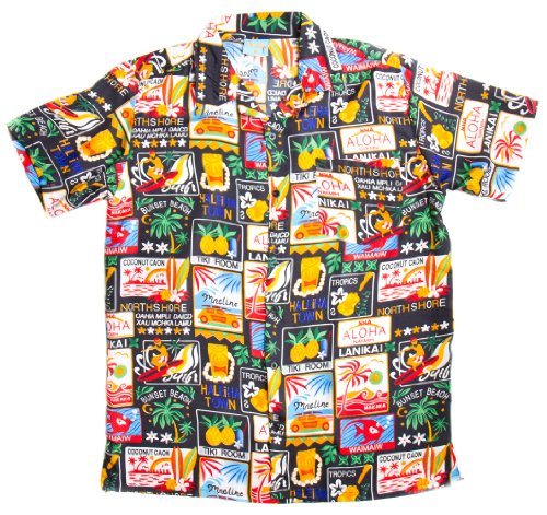 ragstock-mens-tropical-hawaiian-palm-tree-collage-print-aloha-shirt-black-medium