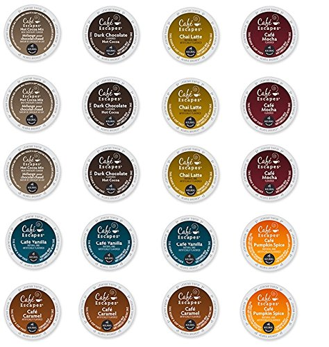 20 Count - Cafe Escape Variety K Cup For Keurig K-Cup Brewers - Cafe Caramel, Cafe Vanilla, Cafe Mocha, Chai Latte, Milk Chocolate Hot Cocoa, Dark Chocolate Hot Cocoa, Cafe Pumpkin Spice