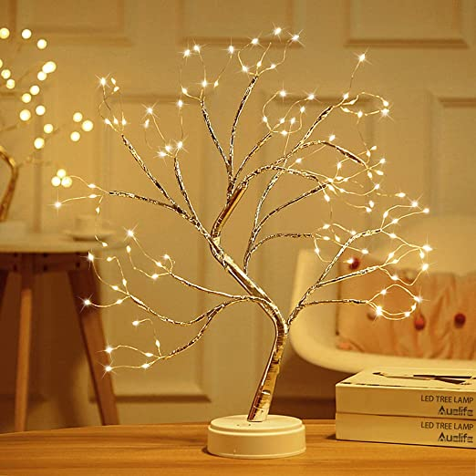 "Amazon.com: Auelife 20"" Tabletop Bonsai Tree Light with Eight Functions Lighted Tree Copper Wire Tree Lights,DIY Artificial Light Tree Lamp Decoration for Gift Home Wedding Festival Holiday (Warm White): Home & Kitchen"