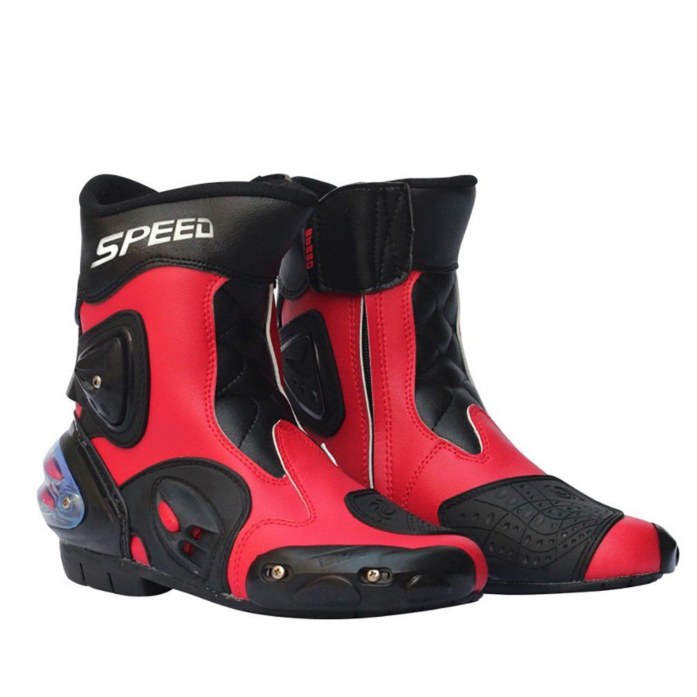 LKN Ankle Joint Protective Gear Motorcycle Boots Shoes for Riding Racing Red