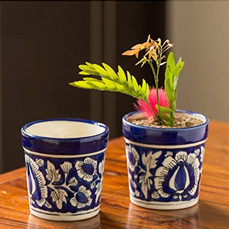 ExclusiveLane The Floral Pictured Mughal Hand-Painted Ink Blue Ceramic Planter (Set of 2) - Planter Pot Ceramic Planter Box for Balcony Flower Pots for Garden Living Room Decorative Plant Bowls