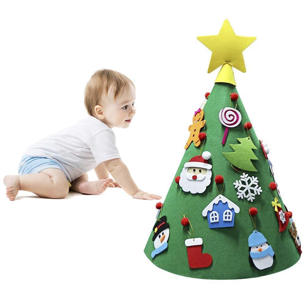 ASDOMO 3D DIY Albero di Natale in Feltro, con 18 Pezzi Staccabile Ornamenti Ornamenti, Toddler Friendly da Appendere all' Albero di Natale per Bambini Natale Regali di Natale Decorazioni per la casa con 18Pezzi Staccabile Ornamenti Ornamenti