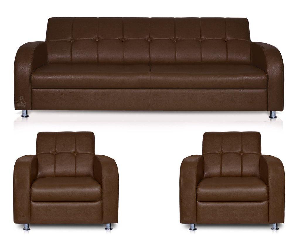 Spaces Therapy Atlanta Leatherette 3 1 1 Seater Sofa Set Brown