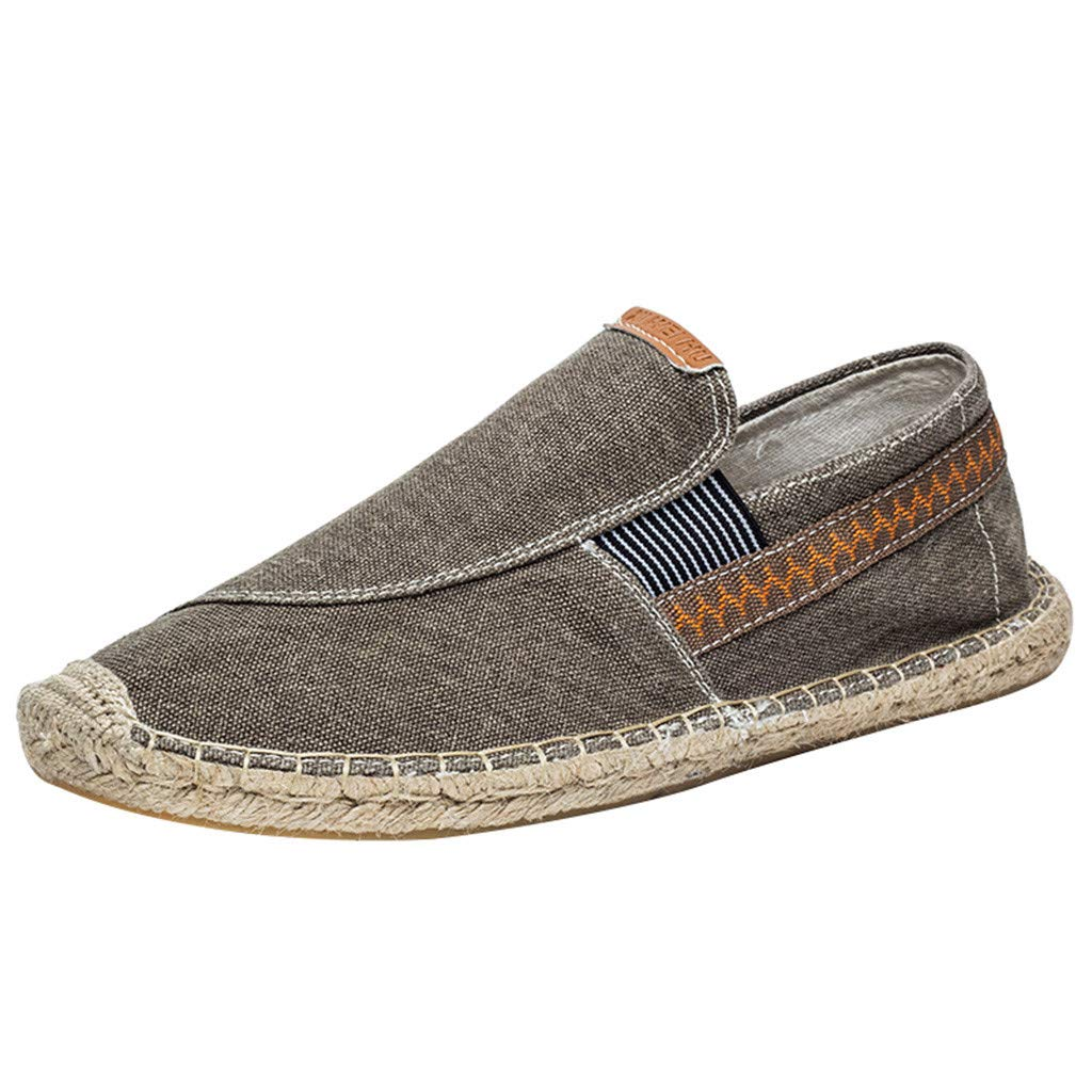 Women's Men's Espadrilles Loafers Flats Shoes Casual Canvas Breathable Slip-on Sneaker (US:9, Brown)