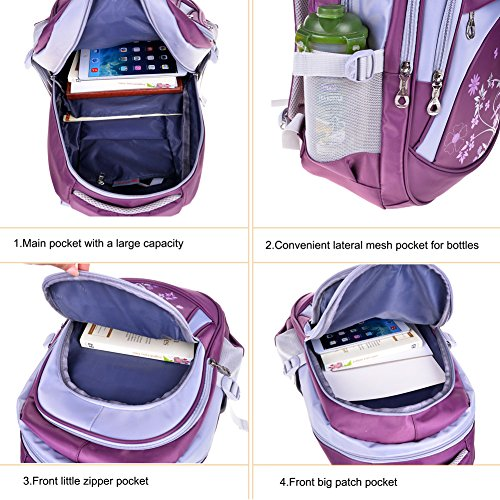 Vbiger Girl's & Boy's Backpack for Middle School Cute Bookbag Outdoor Daypack (Purple 1) by VBIGER (Image #7)