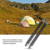 Tent Pole Rod, Outdoor 2PCS Aluminium Alloy Bar Rod Accessories Building Supporting Awning Frames Kit for Hiking Camping Replacement Fibreglass Shock Corded Equipment Black 3.3m Sections