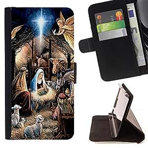 - Virgin Mary Jesus Bethlehem Christmas - Estilo PU billetera de cuero del soporte del tir???¡¯????n [solapa de cierre] Cubierta- For Samsung Galaxy S6 EDGE £¨ Devil Case £©