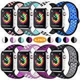 ilopee Waterproof Sport Band Compatible with Apple Watch Series 5 4 3 2 1, Fashionable Strap for iWatch 42mm 44mm, Multi Colors, M/L