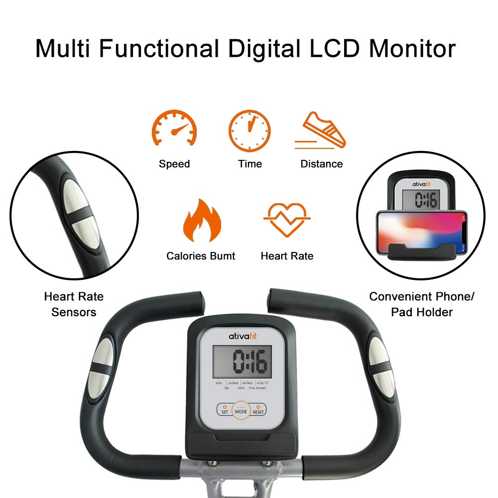 ATIVAFIT Stationary Exercise Bike Magnetic Upright Bike Monitor with Phone Holder, High Backrest, Adjustable Resistance Band for Arm Leg