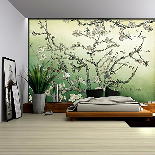 Almond Blossom Painting by Vincent Van Gogh on a Green Watercolored Background Wall Mural